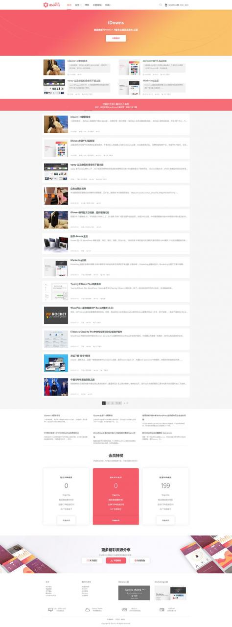 适合做资源站的wordpress主题iDownsV1.8.4-米酷主题